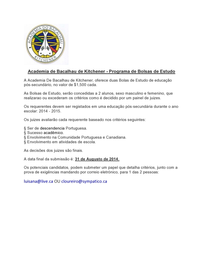 SCHOLARSHIP - Requirements Portuguese 2014