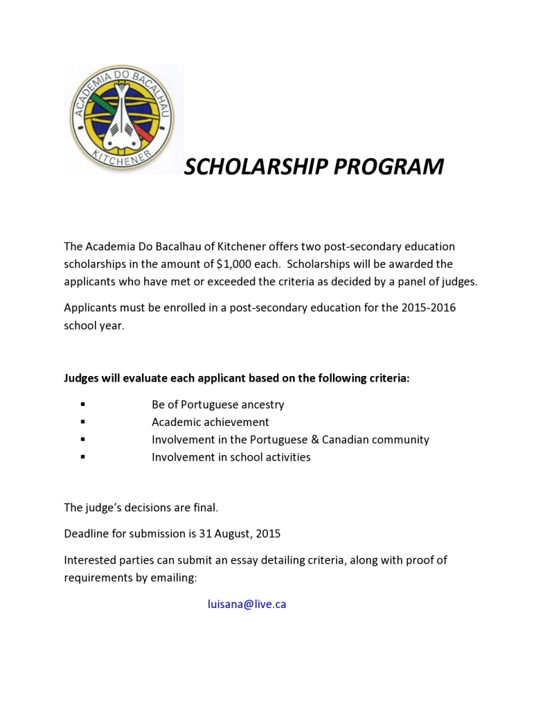 SCHOLARSHIP  Requirments English 2015
