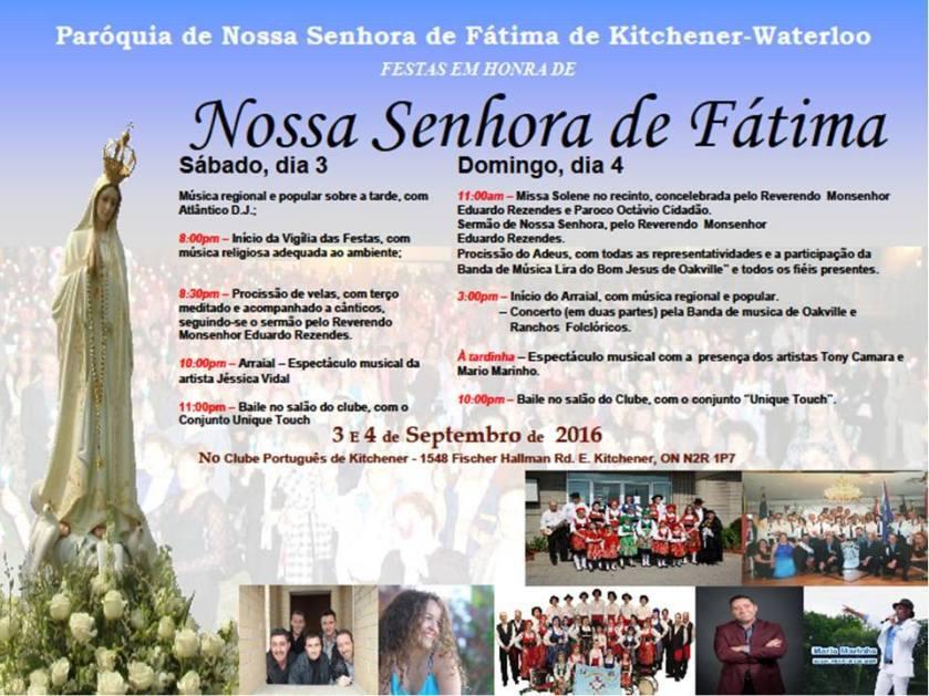 Festas Em Honra De Nossa Senhora De Fatima 2016