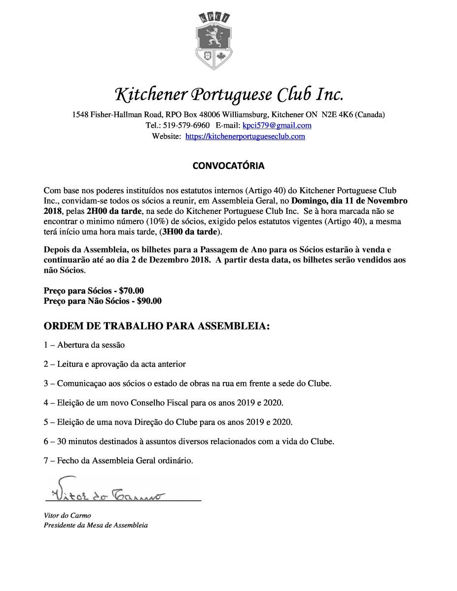 Clube Portugues - Nov. 11 - Convocatoria Assembleia Geral
